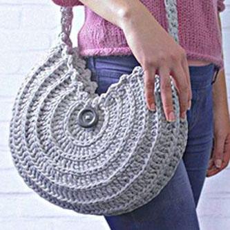 сумка из трикотажной пряжи пышными столбиками