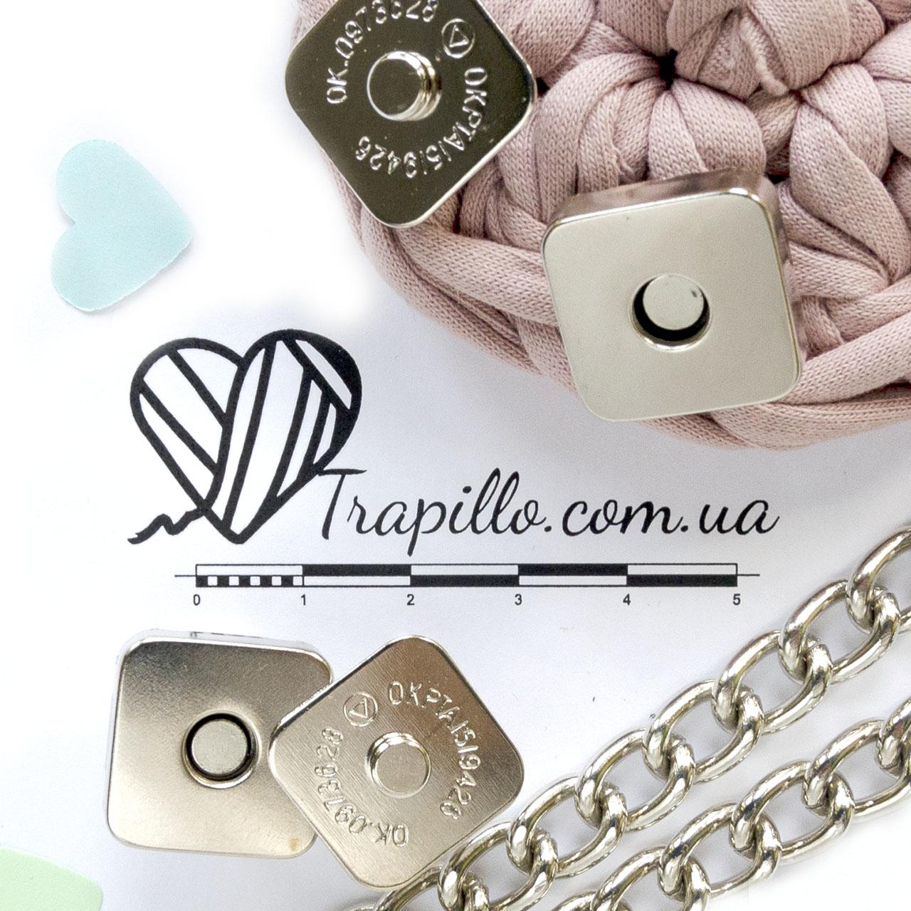 Кнопка магнитная квадрат 18 мм никель