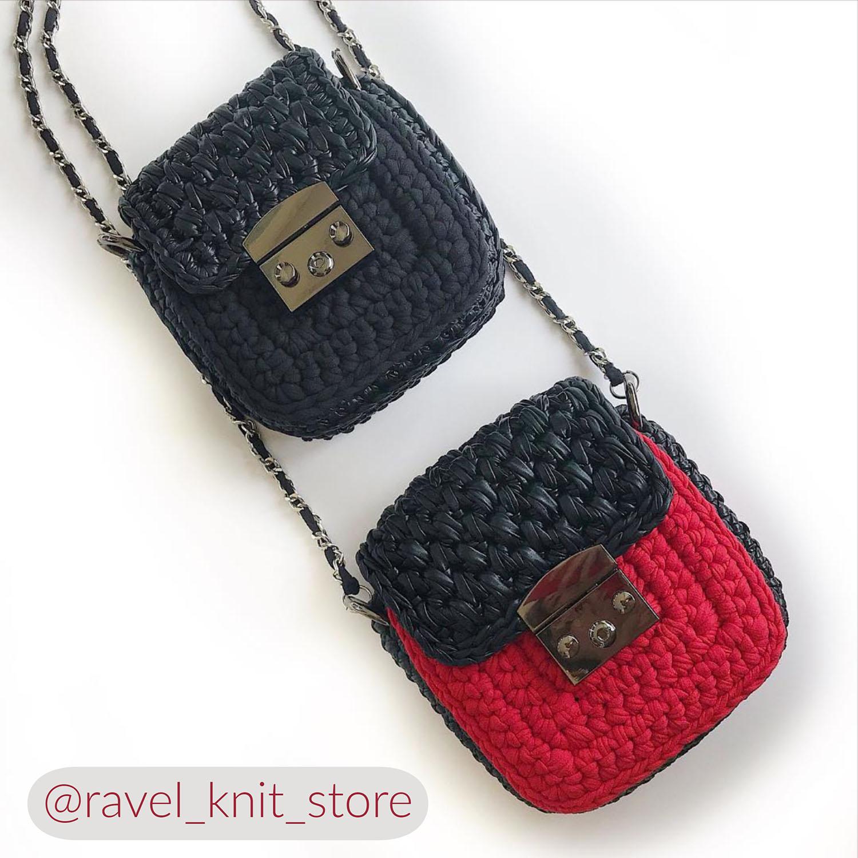 Квадратная сумочка из трикотажной пряжи