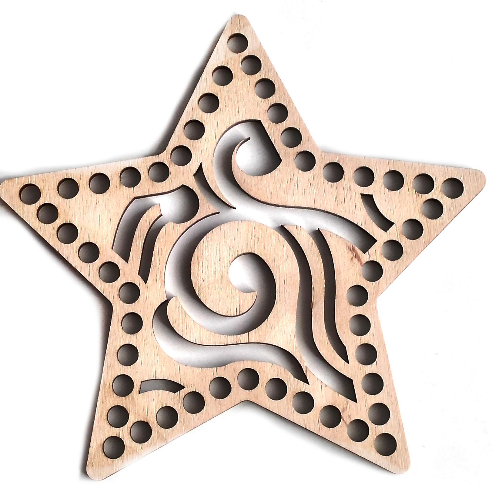 Деревянная заготовка Звезда Узор 20см