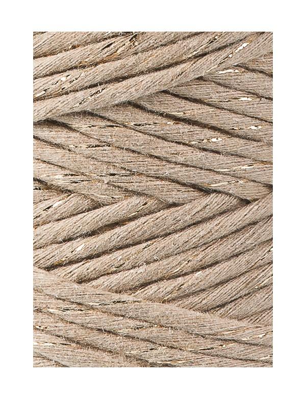 Хлопковый шнур для макраме Bobbiny Песочный с Золотом 3мм