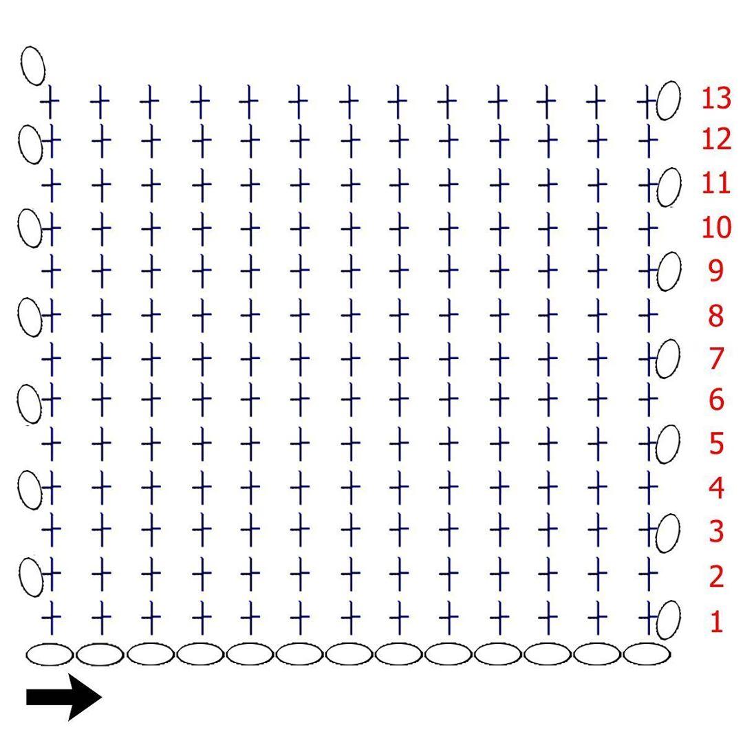 Схема дна квадратной корзины крючком