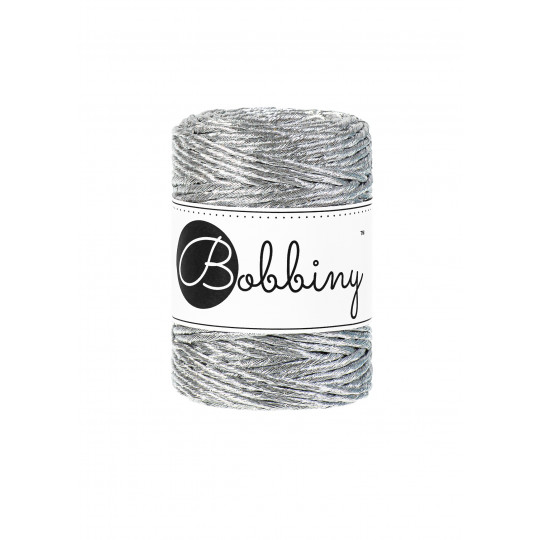 Шнур для макраме Bobbiny Metallic Серебро 3мм